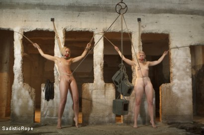 Photo number 3 from 2 Helpless Blonde Whores in Brutal Bondage! shot for Sadistic Rope on Kink.com. Featuring Ella Nova  and Dylan Ryan in hardcore BDSM & Fetish porn.