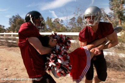 Photo number 4 from Revenge of the Cheerleader!  shot for Hardcore Gangbang on Kink.com. Featuring Gaia, Tommy Pistol, Marco Banderas, Bill Bailey, Toni Ribas and John Strong in hardcore BDSM & Fetish porn.