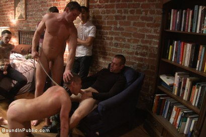 Photo number 12 from Hung stud has his balls stretched, ass gang fucked, & prostate milked shot for Bound in Public on Kink.com. Featuring Austin Chandler, Sean Duran and Connor Maguire in hardcore BDSM & Fetish porn.