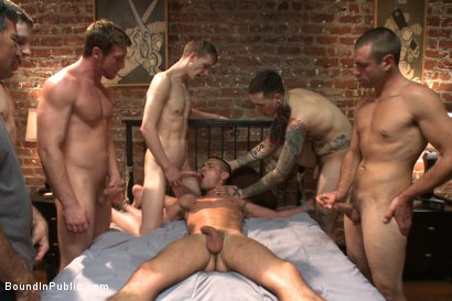 Photo number 14 from Hung stud has his balls stretched, ass gang fucked, & prostate milked shot for Bound in Public on Kink.com. Featuring Austin Chandler, Sean Duran and Connor Maguire in hardcore BDSM & Fetish porn.