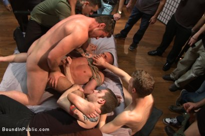 Photo number 8 from Hung stud has his balls stretched, ass gang fucked, & prostate milked shot for Bound in Public on Kink.com. Featuring Austin Chandler, Sean Duran and Connor Maguire in hardcore BDSM & Fetish porn.
