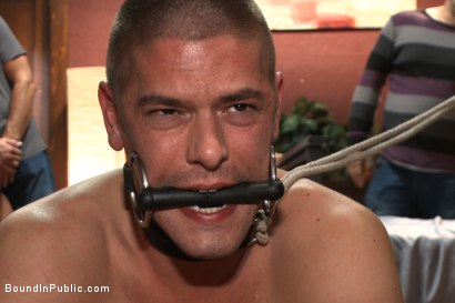 Photo number 7 from Hung stud has his balls stretched, ass gang fucked, & prostate milked shot for Bound in Public on Kink.com. Featuring Austin Chandler, Sean Duran and Connor Maguire in hardcore BDSM & Fetish porn.