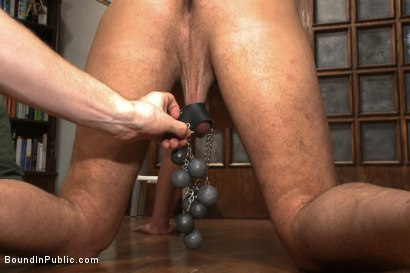 Photo number 6 from Hung stud has his balls stretched, ass gang fucked, & prostate milked shot for Bound in Public on Kink.com. Featuring Austin Chandler, Sean Duran and Connor Maguire in hardcore BDSM & Fetish porn.