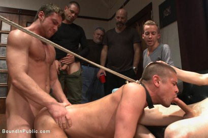 Photo number 10 from Hung stud has his balls stretched, ass gang fucked, & prostate milked shot for Bound in Public on Kink.com. Featuring Austin Chandler, Sean Duran and Connor Maguire in hardcore BDSM & Fetish porn.
