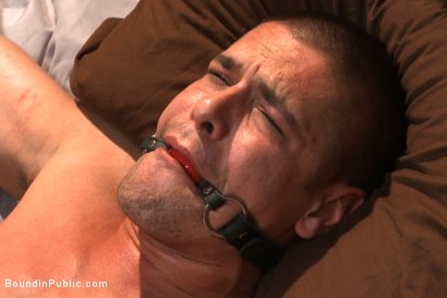 Photo number 4 from Hung stud has his balls stretched, ass gang fucked, & prostate milked shot for Bound in Public on Kink.com. Featuring Austin Chandler, Sean Duran and Connor Maguire in hardcore BDSM & Fetish porn.
