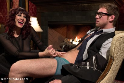 Photo number 4 from FemDom Edging, Teasing and Prostate Milking Test Shoot shot for Divine Bitches on Kink.com. Featuring Maitresse Madeline Marlowe  and Connor Maguire in hardcore BDSM & Fetish porn.