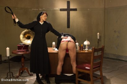 Photo number 1 from Divine Intervention: A Divine Bitches feature presentation with taboo, punishment and milking! shot for Divine Bitches on Kink.com. Featuring Maitresse Madeline Marlowe  and Alex Adams in hardcore BDSM & Fetish porn.