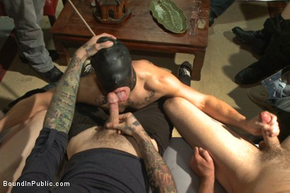 Photo number 3 from Horny crowd mercilessly gang fucks a bound hung stud against his will  shot for Bound in Public on Kink.com. Featuring Eli Hunter, Mitch Vaughn and Christian Wilde in hardcore BDSM & Fetish porn.
