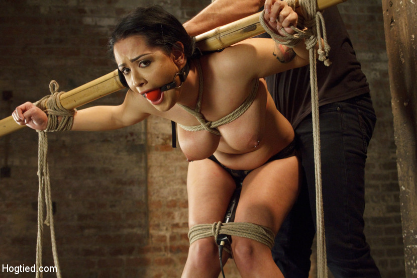 Bondage ropes hogtying a young lady rather