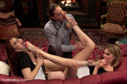 Photo number 1 from Two sexy foot maids tease, fuck and footjob their boss! shot for Foot Worship on Kink.com. Featuring Mona Wales, Bella Rossi and Kip Johnson in hardcore BDSM & Fetish porn.
