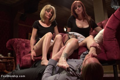 Photo number 9 from Two sexy foot maids tease, fuck and footjob their boss! shot for Foot Worship on Kink.com. Featuring Mona Wales, Bella Rossi and Kip Johnson in hardcore BDSM & Fetish porn.