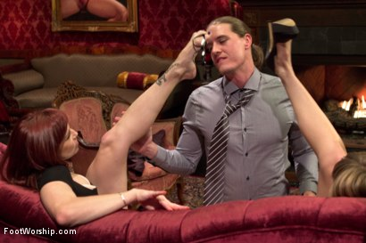 Photo number 3 from Two sexy foot maids tease, fuck and footjob their boss! shot for Foot Worship on Kink.com. Featuring Mona Wales, Bella Rossi and Kip Johnson in hardcore BDSM & Fetish porn.