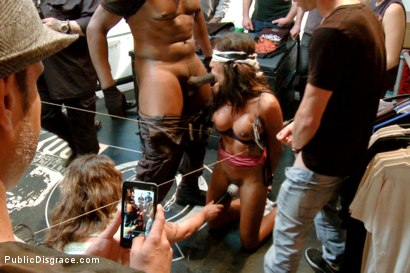 Photo number 9 from Lexington Steele Drags His New Whore to an Interracial Fuck Fest!  shot for Public Disgrace on Kink.com. Featuring Lexington Steele and Sadie Santana in hardcore BDSM & Fetish porn.