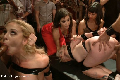 Photo number 5 from Happy Birthday Princess! Enjoy your presents! (part 1) shot for Public Disgrace on Kink.com. Featuring Ramon Nomar, Elyssa Greene, Cherie Deville and Maitresse Madeline Marlowe in hardcore BDSM & Fetish porn.