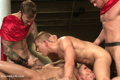 Photo number 14 from Roman Gladiator Live Show - Part One  shot for Bound Gods on Kink.com. Featuring Van Darkholme, Connor Maguire, Connor Patricks, Alex Adams and Christian Wilde in hardcore BDSM & Fetish porn.