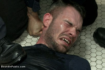 Photo number 5 from Hairy perv gets taken downtown & gang fucked by the whole jail house shot for Bound in Public on Kink.com. Featuring Brandon Atkins, Adam Herst, Dayton O'Connor and Big Red in hardcore BDSM & Fetish porn.