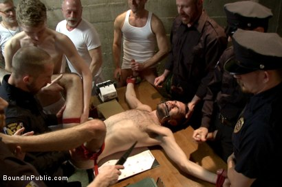 Photo number 11 from Hairy perv gets taken downtown & gang fucked by the whole jail house shot for Bound in Public on Kink.com. Featuring Brandon Atkins, Adam Herst, Dayton O'Connor and Big Red in hardcore BDSM & Fetish porn.