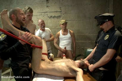 Photo number 13 from Hairy perv gets taken downtown & gang fucked by the whole jail house shot for Bound in Public on Kink.com. Featuring Brandon Atkins, Adam Herst, Dayton O'Connor and Big Red in hardcore BDSM & Fetish porn.