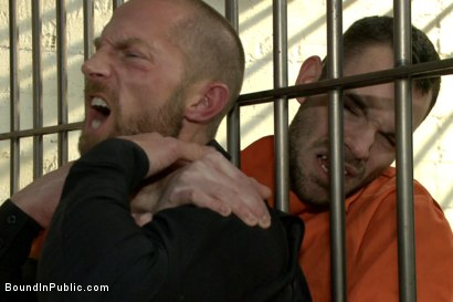 Photo number 6 from Hairy perv gets taken downtown & gang fucked by the whole jail house shot for Bound in Public on Kink.com. Featuring Brandon Atkins, Adam Herst, Dayton O'Connor and Big Red in hardcore BDSM & Fetish porn.