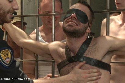 Photo number 3 from Brandon Atkins gets a prison gang fuck  shot for Bound in Public on Kink.com. Featuring Brandon Atkins, Adam Herst, Dayton O'Connor and Big Red in hardcore BDSM & Fetish porn.