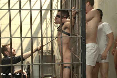 Photo number 4 from Brandon Atkins gets a prison gang fuck  shot for Bound in Public on Kink.com. Featuring Brandon Atkins, Adam Herst, Dayton O'Connor and Big Red in hardcore BDSM & Fetish porn.