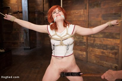 Photo number 4 from 18 Year Old Redhead Slut Fucked Silly in Tight Bondage shot for Hogtied on Kink.com. Featuring Sadie Kennedy in hardcore BDSM & Fetish porn.