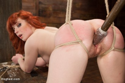 18 Year Old Redhead Slut Fucked Silly in Tight Bondage