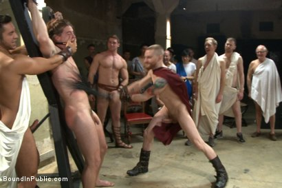 Photo number 8 from PUNISH THE ESCAPED GLADIATOR FOR HIS CRIMES AGAINST ROME!!! shot for Bound in Public on Kink.com. Featuring Kip Johnson, Trenton Ducati, Seth Santoro and Connor Maguire in hardcore BDSM & Fetish porn.