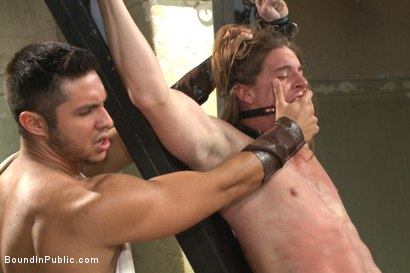 Photo number 7 from PUNISH THE ESCAPED GLADIATOR FOR HIS CRIMES AGAINST ROME!!! shot for Bound in Public on Kink.com. Featuring Kip Johnson, Trenton Ducati, Seth Santoro and Connor Maguire in hardcore BDSM & Fetish porn.