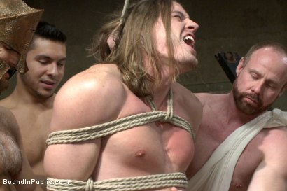 Photo number 2 from PUNISH THE ESCAPED GLADIATOR FOR HIS CRIMES AGAINST ROME!!! shot for Bound in Public on Kink.com. Featuring Kip Johnson, Trenton Ducati, Seth Santoro and Connor Maguire in hardcore BDSM & Fetish porn.
