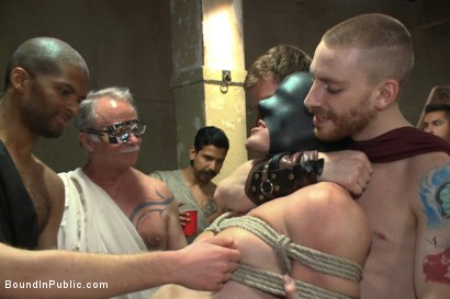 Photo number 9 from When in Rome, torture and gang bang! shot for Bound in Public on Kink.com. Featuring Kip Johnson, Trenton Ducati, Seth Santoro and Connor Maguire in hardcore BDSM & Fetish porn.