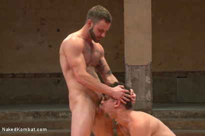"""Photo number 9 from Leon """"The Masticator"""" Fox vs Chris """"Mr Bad-Ass"""" Bines shot for Naked Kombat on Kink.com. Featuring Chris Bines and Leon Fox in hardcore BDSM & Fetish porn."""