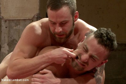 """Photo number 10 from Leon """"The Masticator"""" Fox vs Chris """"Mr Bad-Ass"""" Bines shot for Naked Kombat on Kink.com. Featuring Chris Bines and Leon Fox in hardcore BDSM & Fetish porn."""