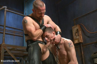 "Photo number 6 from ""Boy, it's not a costume... it's leather!"" shot for Bound Gods on Kink.com. Featuring Adam Herst and Sam Truitt in hardcore BDSM & Fetish porn."