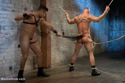Photo number 14 from Leather Hookup with Trenton and Mitch shot for Bound Gods on Kink.com. Featuring Trenton Ducati and Mitch Vaughn in hardcore BDSM & Fetish porn.