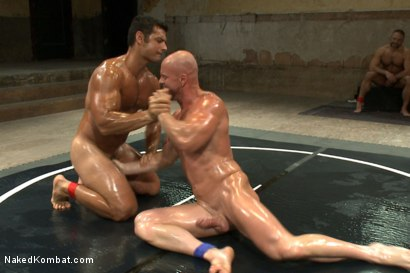 "Photo number 8 from OILED MUSCLE: Mitch ""The Machine"" Vaughn vs Marcus ""Titan"" Ruhl   shot for Naked Kombat on Kink.com. Featuring Marcus Ruhl and Mitch Vaughn in hardcore BDSM & Fetish porn."
