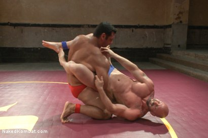 """Photo number 1 from OILED MUSCLE: Mitch """"The Machine"""" Vaughn vs Marcus """"Titan"""" Ruhl   shot for Naked Kombat on Kink.com. Featuring Marcus Ruhl and Mitch Vaughn in hardcore BDSM & Fetish porn."""