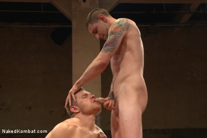 "Photo number 9 from ""Slick-Dick"" vs ""The Axe"" - Two Hung Studs Fight for Redemption! shot for Naked Kombat on Kink.com. Featuring Alex Adams and Jay Rising in hardcore BDSM & Fetish porn."