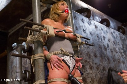 Photo number 1 from TIED WIDE OPEN for DOUBLE PENETRATION shot for Hogtied on Kink.com. Featuring Mellanie Monroe in hardcore BDSM & Fetish porn.
