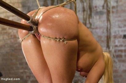 Photo number 7 from Big Tit Double Penetration Bondage Slut shot for Hogtied on Kink.com. Featuring Leya Falcon in hardcore BDSM & Fetish porn.