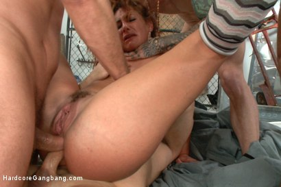 Super Hot red head taken down in a nasty squirt fest. Double Anal!