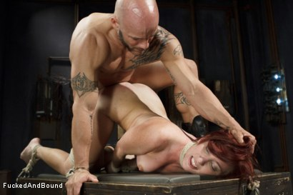 Photo number 12 from Newbie gets brutally fucked in tight bondage shot for Fucked and Bound on Kink.com. Featuring Derrick Pierce and Sophia Locke in hardcore BDSM & Fetish porn.