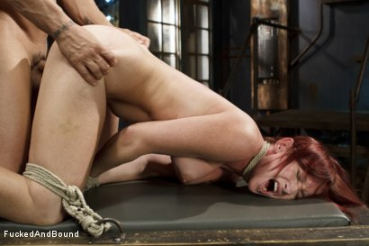 Photo number 14 from Newbie gets brutally fucked in tight bondage shot for  on Kink.com. Featuring Derrick Pierce and Sophia Locke in hardcore BDSM & Fetish porn.