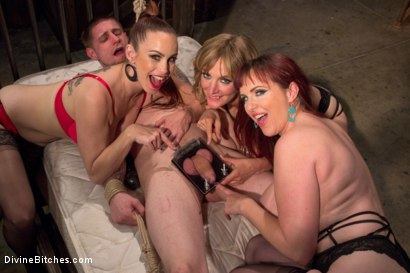 Photo number 1 from Panty thief pumped full of viagra then teased and denied by three mean lingerie store bitches! shot for Divine Bitches on Kink.com. Featuring Bella Rossi, Mz Berlin, Jay Rising and Mona Wales in hardcore BDSM & Fetish porn.