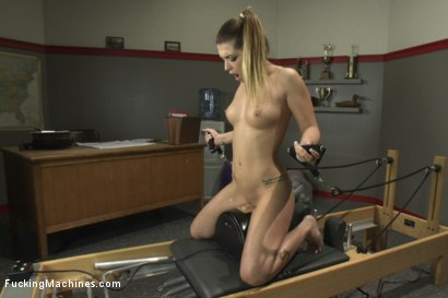 Photo number 10 from Athletic Babe Fucks Herself in the Coach's office  shot for Fucking Machines on Kink.com. Featuring Jenna Ashley in hardcore BDSM & Fetish porn.