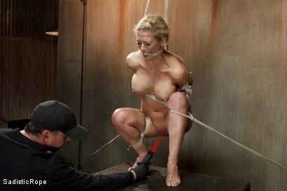 Photo number 9 from Hot Blonde with Big Tits in Brutal Predicament Bondage shot for Sadistic Rope on Kink.com. Featuring Cherie Deville in hardcore BDSM & Fetish porn.