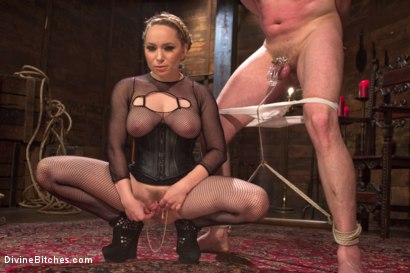 Photo number 1 from Extreme Femdom Chastity shot for Divine Bitches on Kink.com. Featuring Bastian Daniels and Aiden Starr in hardcore BDSM & Fetish porn.