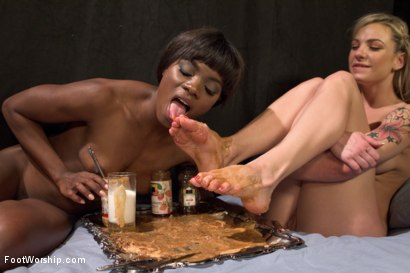 Photo number 17 from Peanut Butter and Jelly Toe Sandwiches: Lesbian Foot Sploshing!!! shot for Foot Worship on Kink.com. Featuring Dahlia Sky and Ana Foxxx in hardcore BDSM & Fetish porn.
