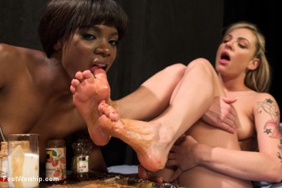 Photo number 15 from Peanut Butter and Jelly Toe Sandwiches: Lesbian Foot Sploshing!!! shot for Foot Worship on Kink.com. Featuring Dahlia Sky and Ana Foxxx in hardcore BDSM & Fetish porn.