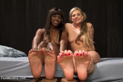 Photo number 25 from Peanut Butter and Jelly Toe Sandwiches: Lesbian Foot Sploshing!!! shot for Foot Worship on Kink.com. Featuring Dahlia Sky and Ana Foxxx in hardcore BDSM & Fetish porn.
